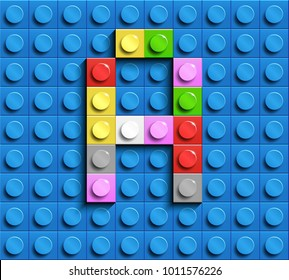 Colorful letters A of alphabet from building lego bricks on blue lego brick background. blue lego background. 3d letters A. Realistic letters