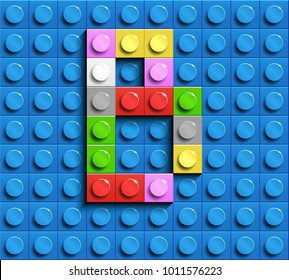 Colorful letters B of alphabet from building lego bricks on blue lego brick background. blue lego background. 3d letters B. Realistic letters