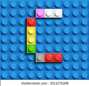Colorful letters C of alphabet from building lego bricks on blue lego brick background. blue lego background. 3d letters C. Realistic letters
