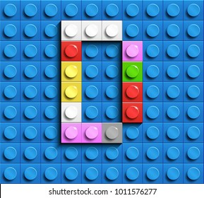 Colorful letters D of alphabet from building lego bricks on blue lego brick background. blue lego background. 3d letters D. Realistic letters