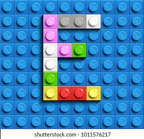 Colorful letters E of alphabet from building lego bricks on blue lego brick background. blue lego background. 3d letters E. Realistic letters
