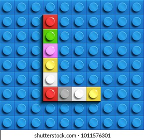 Colorful letters L of alphabet from building lego bricks on blue lego brick background. blue lego background. 3d letters L. Realistic letters