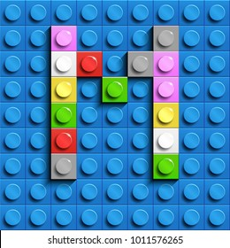 Colorful letters M of alphabet from building lego bricks on blue lego brick background. blue lego background. 3d letters M. Realistic letters