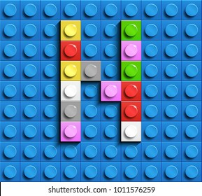 Colorful letters  N of alphabet from building lego bricks on blue lego brick background. blue lego background. 3d letters N. Realistic letters