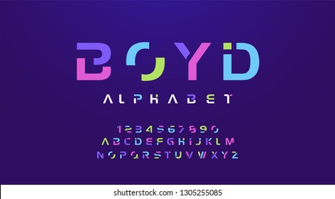 Colorful letters and numbers font set. Colored alphabet, typography modern color design concept. vector illustration