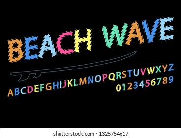 Colorful letters and numbers font colorful wind surf. Colored alphabet, typography modern color design concept. Summer beach surfing illustration ocean background illustration. Flat style – Vector