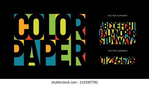 Colorful letters and numbers set. Colored vector latin alphabet. Rainbow color font. Color paper applique ABC, negative space monogram and poster template. Typography design.