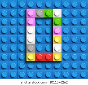Colorful letters O of alphabet from building lego bricks on blue lego brick background. blue lego background. 3d letters O. Realistic letters
