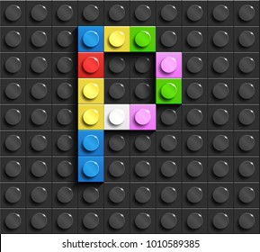 Colorful letters P of alphabet from building lego bricks on black lego brick background. lego background. 3d letters
