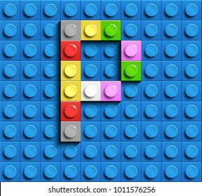 Colorful letters P of alphabet from building lego bricks on blue lego brick background. blue lego background. 3d letters P. Realistic letters