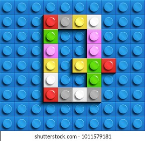 Colorful letters Q of alphabet from building lego bricks on blue lego brick background. blue lego background. 3d letters Q. Realistic letters