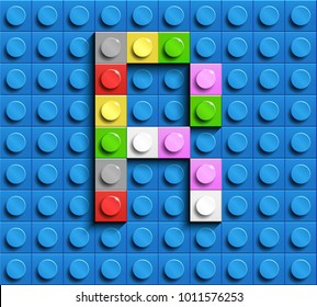 Colorful letters R of alphabet from building lego bricks on blue lego brick background. blue lego background. 3d letters R. Realistic letters