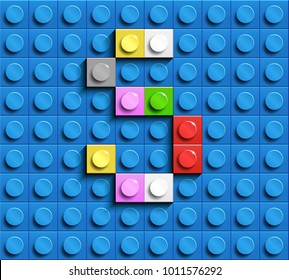Colorful letters S of alphabet from building lego bricks on blue lego brick background. blue lego background. 3d letters S. Realistic letters