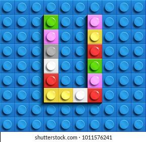 Colorful letters U of alphabet from building lego bricks on blue lego brick background. blue lego background. 3d letters U. Realistic letters