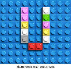 Colorful letters V of alphabet from building lego bricks on blue lego brick background. blue lego background. 3d letters V. Realistic letters