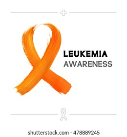 Colorful Leukemia Cancer Awareness Ribbon Isolated Over White Background. Vector  Medical Hospital Poster.