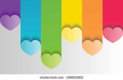 colorful lgbt pride background in paper craft style