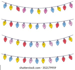 Colorful light bulb garland isolated on white background