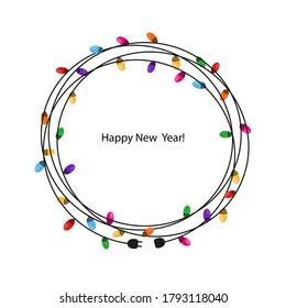 Colorful Light Bulbs circle frame. Set of Christmas lights for Xmas holiday greeting card design vector background
