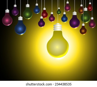 colorful Light bulbs on yellow background