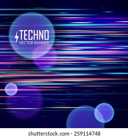 Colorful light and stripes moving fast over dark background. Vector illustration.