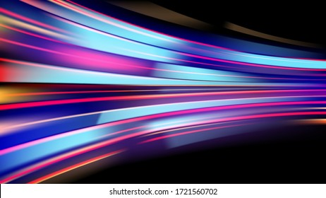 Colorful light trails with motion effect, long exposure or slow shutter picture . vector image .