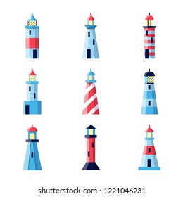 Colorful lighthouse icons set in flat style