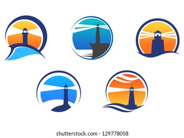Colorful lighthouse symbols set isolated on white background for any navigation concept, also a logo idea. Jpeg version also available in gallery