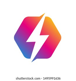 Colorful Lighting Bolt Flash. Logo Design Vector Element. Fast Quick Rapid Icon Concept Symbol. Vector Illustration. EPS 10
