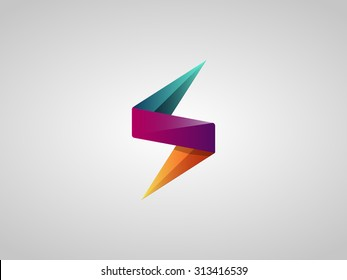 Colorful Lighting Bolt Flash. Logo Design Vector Element. Fast Quick Rapid Icon Concept Symbol. Vector Illustration