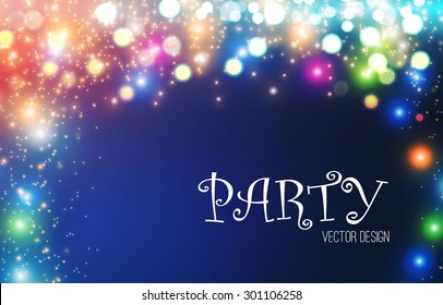 Colorful lights background. Shining party abstract background. Vector illustration