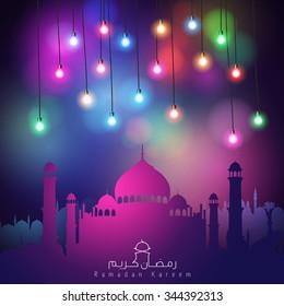 Colorful lights Ramadan Kareem background - Translation of text : Ramadan Kareem - May Generosity Bless you during the holy month