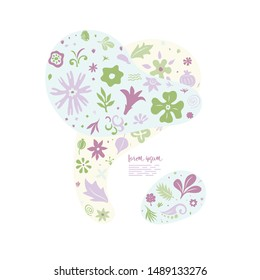 colorful lightweight creative composition with many different floral doodles forming abstract shapes, greeting card template