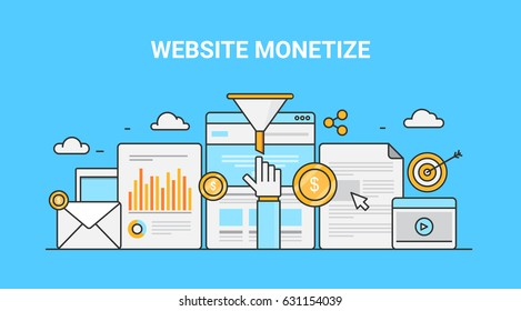 Colorful line art concept for website monetization, make money on-line, revenue generation flat vector banner with icons