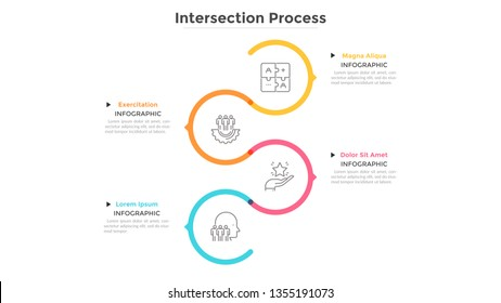 Colorful line curving around linear pictograms placed into vertical row. Concept of 4 successive steps of business process. Minimal infographic design template. Vector illustration for presentation.