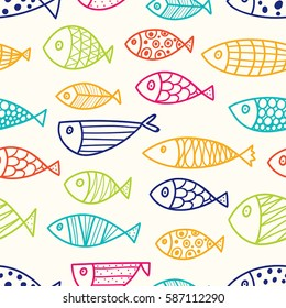 Colorful line fish. Vector seamless pattern.