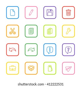 colorful line web icon set with rounded rectangle frame for web design, user interface (UI), infographic and mobile application (apps)