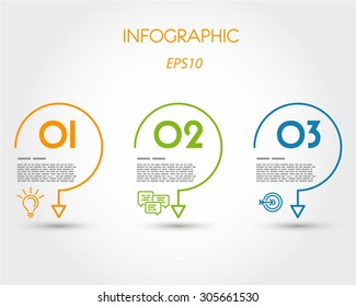 colorful linear infographic three hooks. infographic concept.