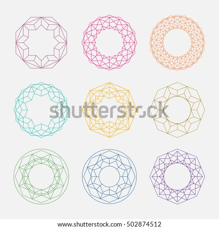 colorful linear shapes sacred geometry circle のベクター画像素材
