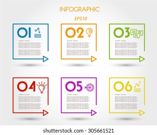 colorful linear square timeline elements. infographic concept.