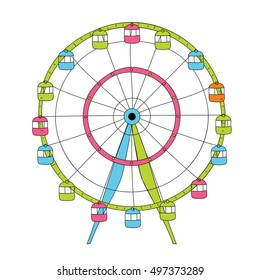 Colorful linear vector Ferris wheel  isolated on white background