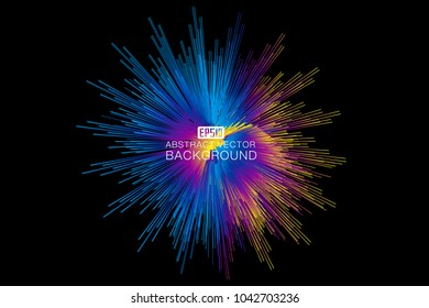 Colorful lines composition shiny radial abstract vector background illustration