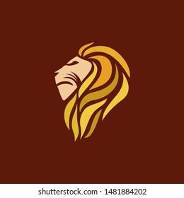 colorful lion head beast from side logo icon vector template