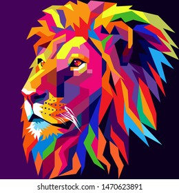 Colorful Lion head, modern pop art style, dark blue background. - Vector.