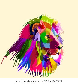 colorful lion head on pop art style