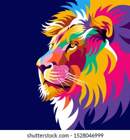 Colorful lion illustration, creative design, modern pop art style, dark background. - Vector.