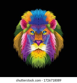 colorful lion pop art portrait abstract line art, can be used for posters, t shirt design, decoration, wallpaper, background, painting, cover album music.