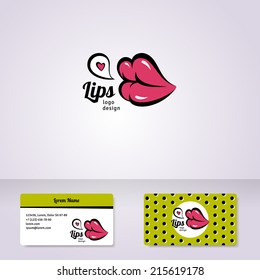 Colorful lips logo design for business company visual identity. Vector illustration. Pop art style.