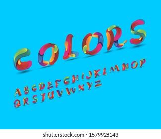 Colorful liquid font set in vector format. Italic version