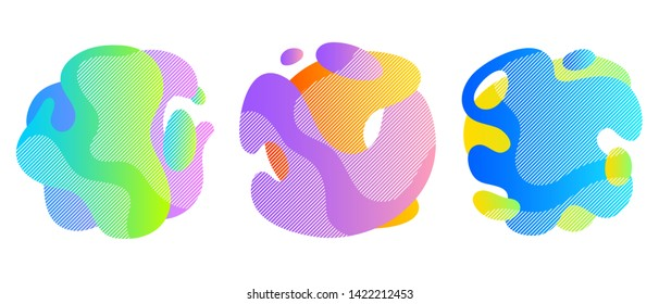 Colorful liquid shapes set. Abstract fluid blobs background.